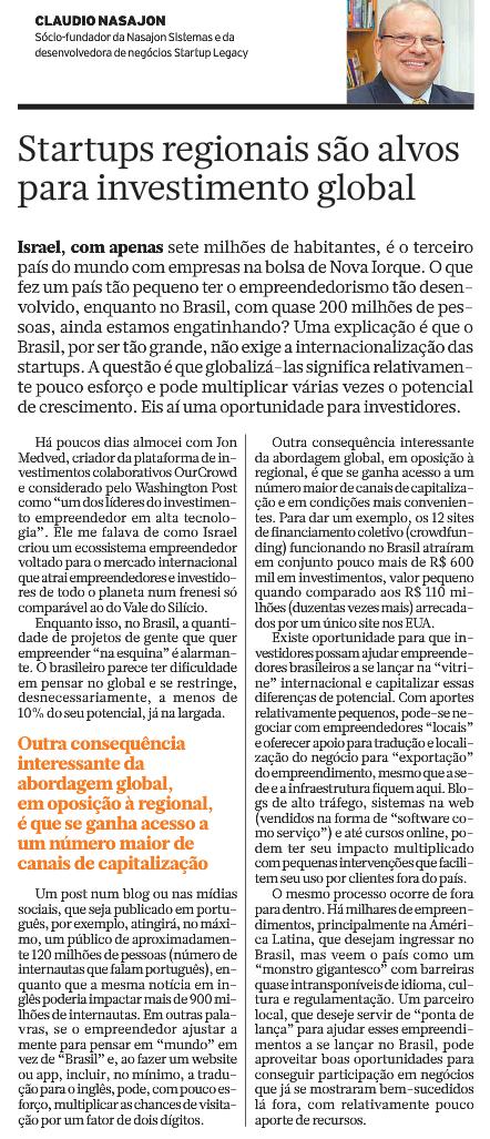 Artigo Brasil Econômico – Claudio Nasajon